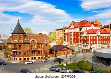 KAZAN, RUSSIA - MAY 8, 2014: Karl Marx Street, Tatarstan, Russia. One of streets in the historical center of city Kazan