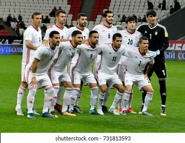 KAZAN, RUSSIA - OCTOBER 10, 2017. National team of Iran before international friendly match against Russia at Kazan Arena stadium in Kazan.