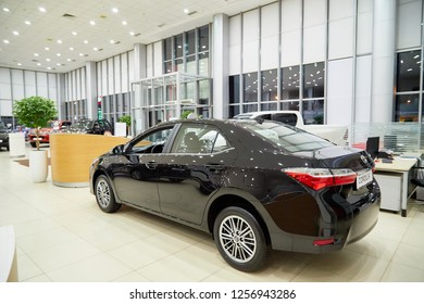 Kazan, Russia - October 16, 2018: Car in showroom of dealership Toyota in Kazan city in Tatarstan in 2018