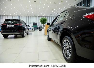 Kazan, Russia - October 16, 2018: Cars in showroom of dealership Toyota in Kazan city in Tatarstan in 2018