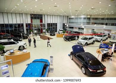 Kazan, Russia - October 16, 2018: Cars in showroom of dealership Toyota in Kazan city in Tatarstan in 2018. Top view