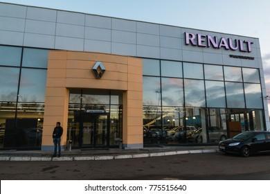 Kazan, Russia - October 19, 2017: Entrance to showroom full of car of dealership Renault in Kazan city
