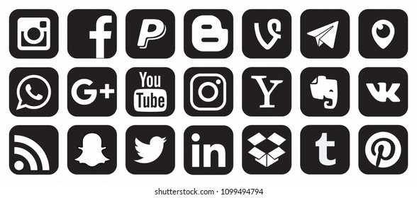KAZAN, RUSSIA - October 26, 2017: Collection of popular social media logos printed on paper: Facebook, Twitter, LinkedIn, Instagram, WhatsApp, Youtube, Blogger and other