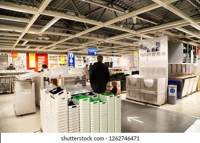 Kazan, Russia - Oktober 17, 2018: Interior of large IKEA store with a wide range of products in Russia