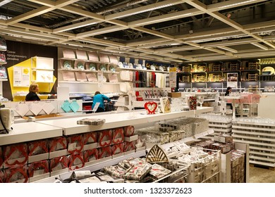 Kazan, Russia - Oktober 17, 2018: Interior of large IKEA store with a wide range of products in Russia. Crockery and things for kitchen