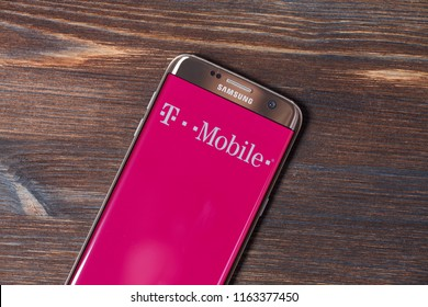 Kazan, Russian Federation - Aug 5, 2018: A Smartphone screen shows logo of T-Mobile.