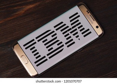 Kazan, Russian Federation - Aug 5, 2018: IBM website displayed on Samsung smartphone