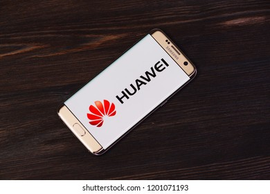 Kazan, Russian Federation - Aug 5, 2018: Huawei logo on screen of Huawei P9 lite. Huawei Technologies Co., Ltd. is a Chinese multinational networking and telecommunications equipment and services