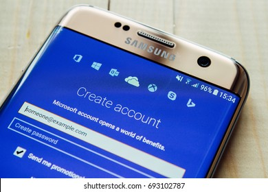 Kazan, Russian Federation - Aug 9, 2017: OneDrive gives you free online storage for all your personal files user can get to them from Android device