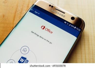 Kazan, Russian Federation - Aug 9, 2017: - Microsoft Office 365 Word application on Samsung S7.