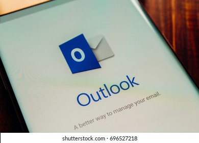Kazan, Russian Federation - Aug 9, 2017: - Microsoft Office Outlook mobile application on Samsung S7's screen. Microsoft Office is one of the most popular office suite software.