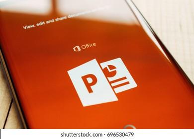 Kazan, Russian Federation - Aug 9, 2017: - Microsoft Office PowerPoint application on Samsung S7.