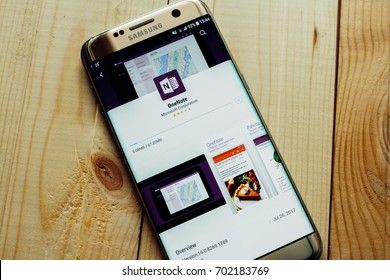 Kazan, Russian Federation - Aug 9, 2017: - Microsoft Office OneNote application on Samsung S7.