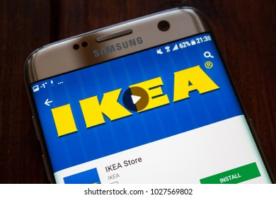 Kazan, Russian Federation - Jan 13, 2018: IKEA is a multinational group of companies that designs and sells ready-to-assemble furniture appliances and home accessories.