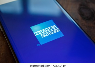 Kazan, Russian Federation - Jan 13, 2018: American Express logo on display in the AMEX Centurion Lounge at New York LaGuardia Airport. A green living wall greets guests at the entrance.