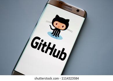 Kazan, Russian Federation - Jun 15, 2018: GitHub website on smartphone. GitHub is a web-based Git repository hosting service.