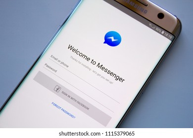 Kazan, Russian Federation - Jun 15, 2018: Facebook Messenger application on screen of modern smartphone close-up. Install menu of Messenger app in Play Store. Apps icon of Messenger.
