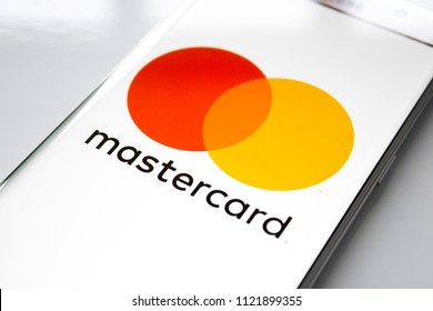 Kazan, Russian Federation - Jun 15, 2018: Modern lifestyle with smartphone to stay connected and browsing using favourite Apps. Payment is easy when you can access with MasterCard Via smartphone