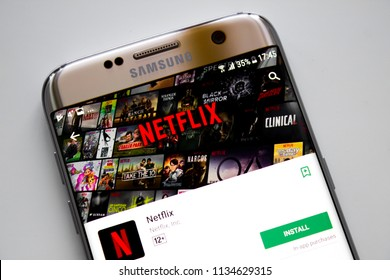 Kazan, Russian Federation - Jun 15, 2018: Netflix application running on android Samsung S5. Netflix is one of the most popular global provider of streaming movies.