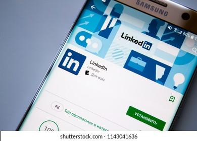 Kazan, Russian Federation - Jun 15, 2018: Linkedin logo on smartphone screen. Linkedin is a social media website specialized in business networking. Illustrative editorial.