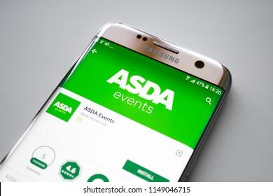 Kazan, Russian Federation - Jun 15, 2018: Asda supermarket front entrance, South Harrow, London, UK.