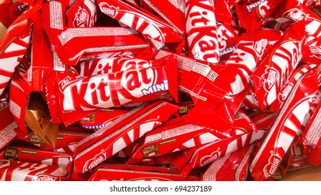 Kazan, Russian Federation - Jun 30, 2017:. Kit Kat is a chocolate covered wafer bar created in 1911 by Rowntree's of York, England. Nestle which acquired Rowntree in 1988 now sells Kit Kat globally.