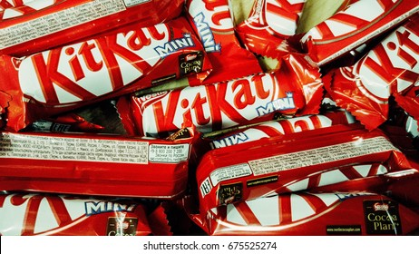 Kazan, Russian Federation - May, 27, 2017: Kit Kat, is chocolate wafer covered with bar created in 1911 by Rowntree's of York, England.