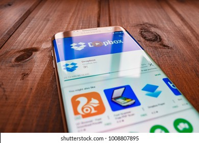 Kazan, Russian Federation - Sep 15, 2017: Dropbox application on a cell phone. Dropbox is a file hosting service operated by Dropbox, Inc.