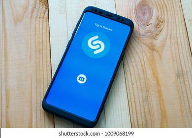Kazan, Russian Federation - Sep 15, 2017: - Shazam mobile application on Samsung S8's screen. Shazam is a free application that helps users figure out the name of a catchy song.