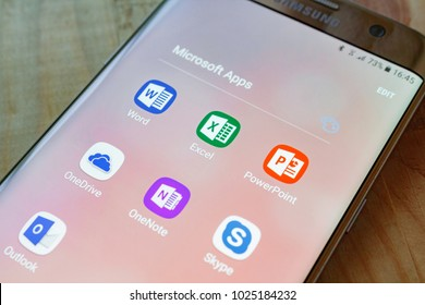 Kazan, Russian Federation - Sep 15, 2017: - Microsoft Office mobile application on Samsung device's screen. Microsoft Office is one of the most popular office software.