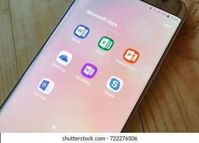 Kazan, Russian Federation - Sep 15, 2017: - Microsoft Office mobile application on Samsung device's screen. Microsoft Office is one of the most popular office software.