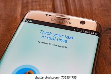 Kazan, Russian Federation - Sep 15, 2017: Gett app showing on Samsung s7 ,gett is smartphone app-based transportation network.