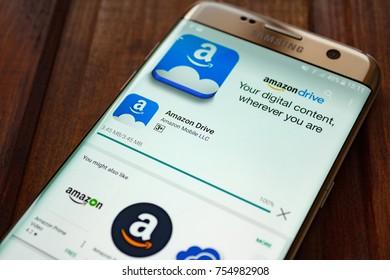 Kazan, Russian Federation - Sep 15, 2017: - Amazon mobile application on screen of Samsung S7
