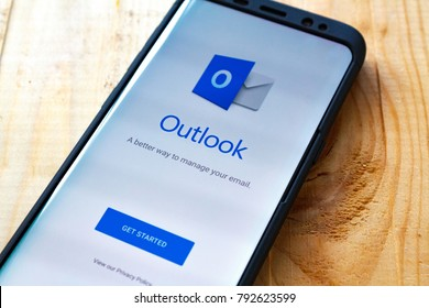 Kazan, Russian Federation - Sep 15, 2017:- Microsoft Office Outlook mobile application on Samsung S7's screen. Microsoft Office is one of the most popular office suite software.