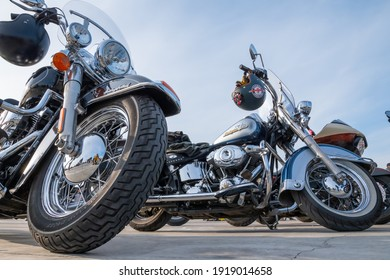 Kazan, Russia-September 26, 2020: Harley Davidson motorcycles standing in the parking lot during a meeting of bikers before a joint trip through the city streets