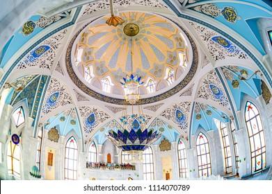 Kazan, Tatarstan, Russia - June 10, 2018: Interior of famous Kul Sharif mosque in Kazan Kremlin