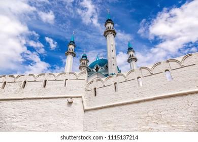 Kazan, Tatarstan, Russia - June 10, 2018: Famous Kul Sharif mosque in Kazan Kremlin against the blue sky