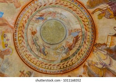 KAZANLAK, BULGARIA, JUNE 4, 2017: Interior of an ancient thracian tomb in Kazanlak, Bulgaria
