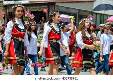 KAZANLAK, BULGARIA - JUNE 5, 2016 - Bulgarian people celebrate the traditional Rose festival at Kazanlak, Bulgaria in traditional costumes.