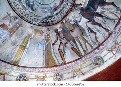 KAZANLUK, BULGARIA - APR 16, 2019 - Frescoes of Greek procession discovered in a Thracian tomb, Kazanluk, Bulgaria