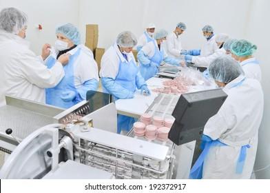 Kazatin, UKRAINE-September 15, 2010: Production of sausage and ham in a butcher shop, September 15, 2010 in a meat factory, Kazatin, Ukraine