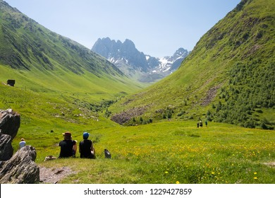 Kazbegi, Georgia - Jul 03 2018: Juta valley near Caucasus mountain. a famous landscape in Kazbegi, Mtskheta-Mtianeti, Georgia.
