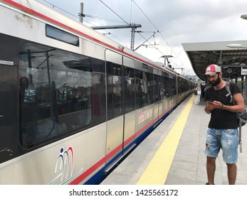 Kazlicesme, Zeytinburnu - June 15, 2019 : Passengers at the Marmaray Train Station on the Europan Side. Gebze - Halkalı suburban train line. Istanbul, TURKEY