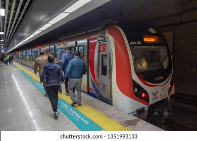 Kazlicesme, Zeytinburnu - March 24, 2019 : Connecting Istanbul Anatolian side and European side (Between Gebze - Halkali), Marmaray suburban train line was opened.  Istanbul, TURKEY