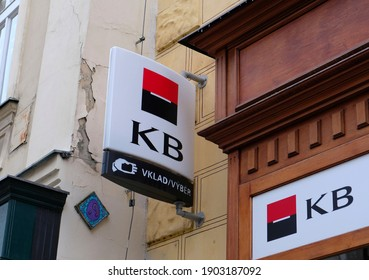 KB Bank or Komercni Banka is a Czech Bank, the local branch of the French Group Spociete Generale. Komercni Banka brand logo at entrance on office building located in PRAGUE - January, 2021.