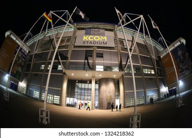 KC STADIUM, WEST PARK, ANLABY ROAD, HULL, UK : 12 FEBRUARY 2019 : Front elevation on a winters evening of the Main Entrance to the KC Stadium in Hull, home to Hull City FC and Hull RFC