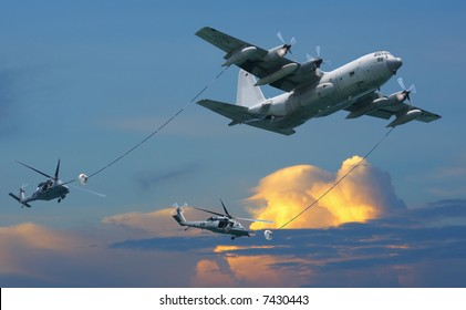 KC-130 tactical tanker with two helicopters