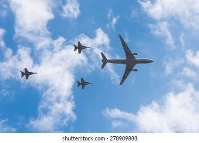 KC-30A Airbus aerial tanker transport in simulated formation with three F18 Super Hornets