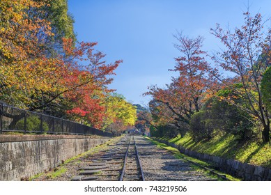 Keage incline, Kyoto, Japan, in autumn. Keage Incline was a canal inclined plane that helped carry boats between different water levels of Lake Biwa Canal.