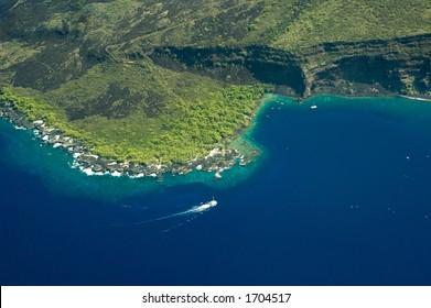 Kealakekua Bay, Big Island aerial shot, Hawaii